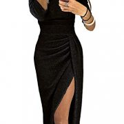 Kinikiss-Womens-Off-Shoulder-Long-Sleeve-Knitted-Midi-Slit-Dress-Party-0